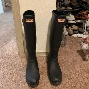 Tall Matte Black Hunter Rain Boots